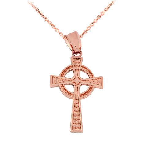 Solid Rose Gold Celtic Cross Pendant Necklace