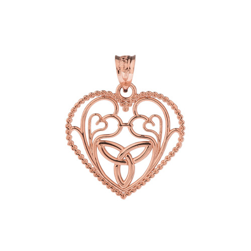 Rose gold rope heart pendant with trinity knot and filigree hearts rose gold rope heart pendant with trinity knot and filigree hearts design aloadofball Image collections