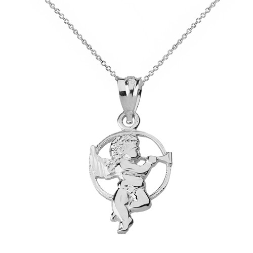Sterling silver diamond cut cherub angel circle pendant necklace aloadofball Images