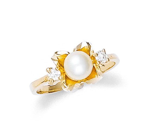 Gold Pearl Flower Ring