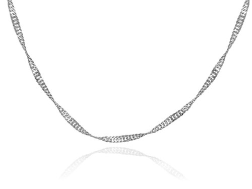 Gold Chains: Singapore White Gold Chain 0.2mm