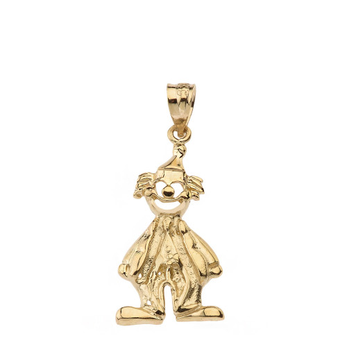 Solid yellow gold auguste clown pendant necklace aloadofball Gallery