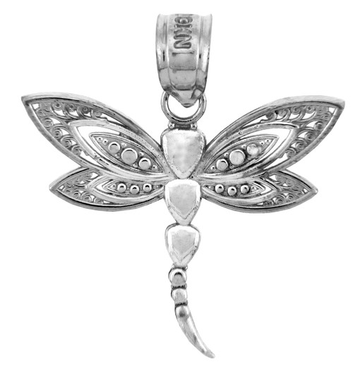 White gold charms the white gold dragonfly pendant aloadofball Gallery