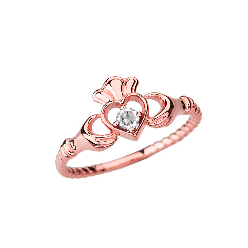 Rose Gold Solitaire & Promise  Open Heart Rope Claddagh Ring