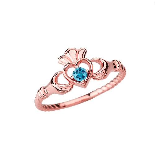 Rose Gold Genuine Blue Topaz Solitaire & Promise Open Heart Rope Claddagh Ring