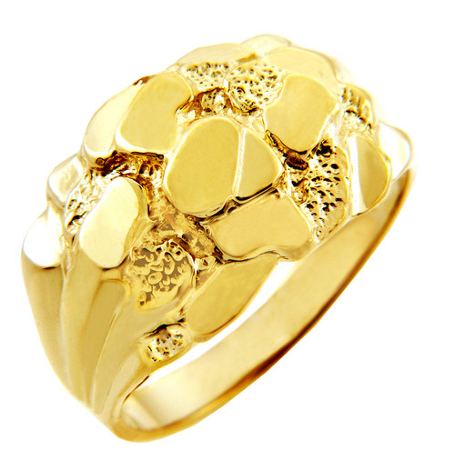 Mens Gold Nugget Rings The Clint Solid Gold Nugget Ring
