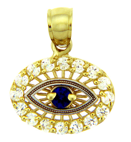 Gold Pendant - Sapphire Evil Eye With CZ in Two Tone Gold