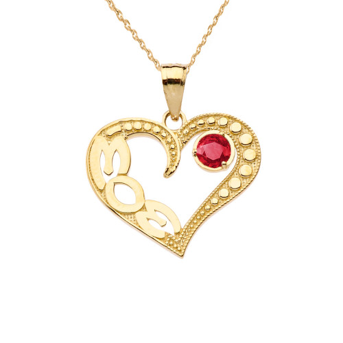 July Ruby (LC)  'MOM' Heart Pendant Necklace in Yellow Gold