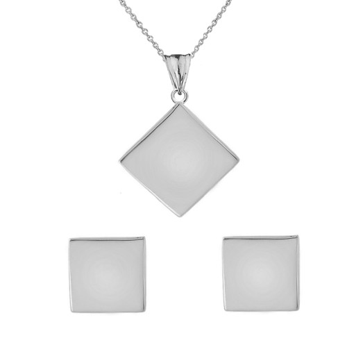 Solid white gold simple diamond shaped pendant necklace and earring set aloadofball Images