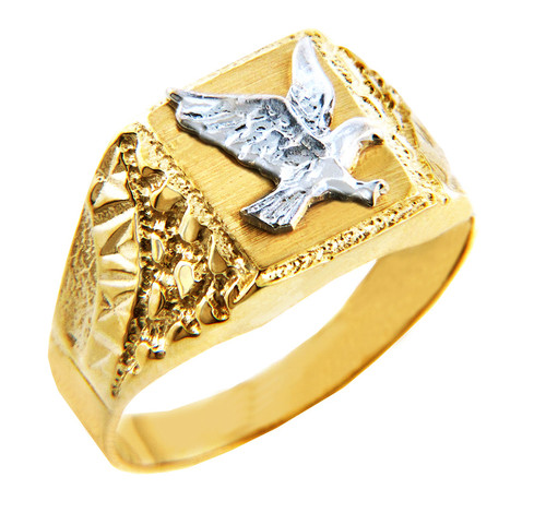 Men's Gold Rings - The Two Tone Gold Eagle Ring