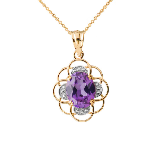 Flower of life personalized birthstone pendant necklace in yellow gold aloadofball Images