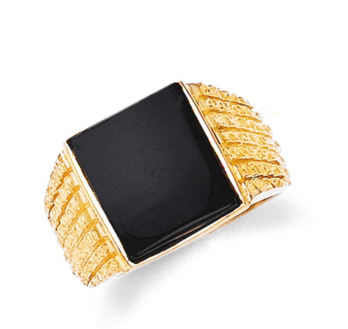 Men's onyx rectangle ring in 10k or 14k yellow gold.