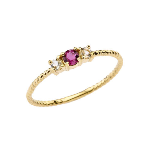 BoHo Elegant Ruby and White Topaz Stackable Rope Ring in Yellow Gold