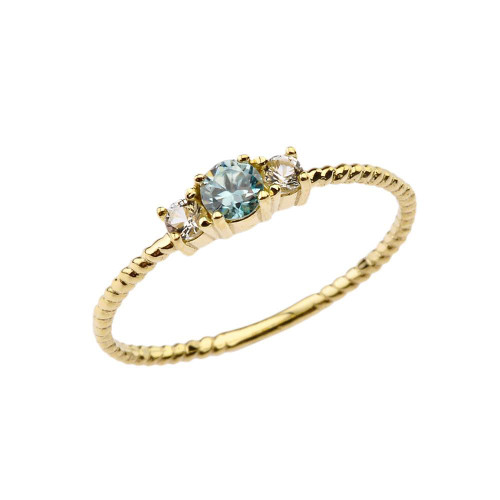 BoHo Elegant Blue Zircon and White Topaz Stackable Rope Ring in Yellow Gold