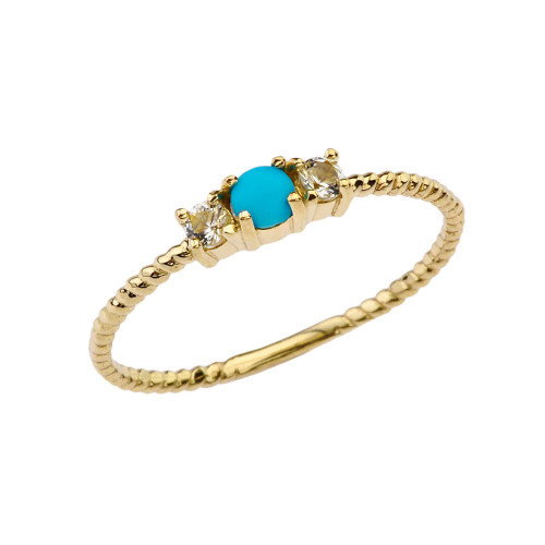 BoHo Elegant Turquoise and White Topaz Stackable Rope Ring in Yellow Gold