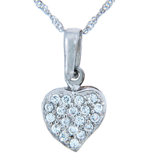 Love and Heart Gold Pendants - Cubic Zirconia Solid Heart Pendant (w Chain)