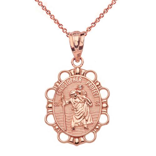 Solid rose gold saint christopher pendant necklace aloadofball Choice Image
