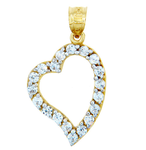 Gold Pendants - Asymmetric Gold Heart Pendant with Cubic Zirconias