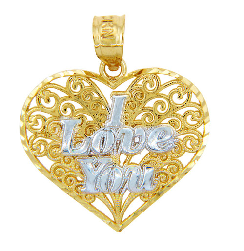 Gold Pendants - Two Tone Gold I Love You Fancy Heart Pendant