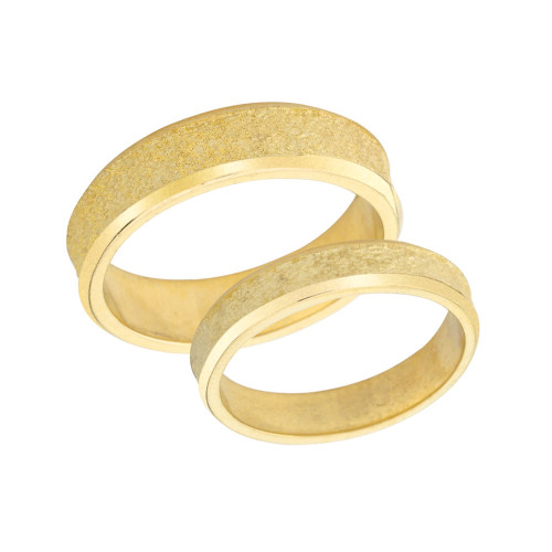 Couples Matching Rock Satin Wedding Band Set in Solid Yellow Gold
