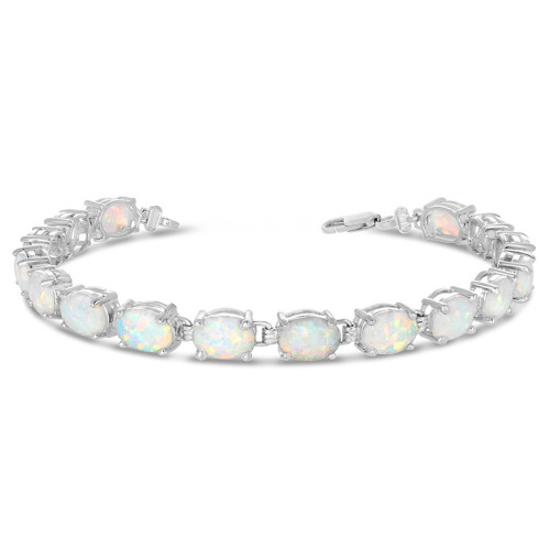 Oval Simulated Opal (9 x 7) Tennis Bracelet in White Gold