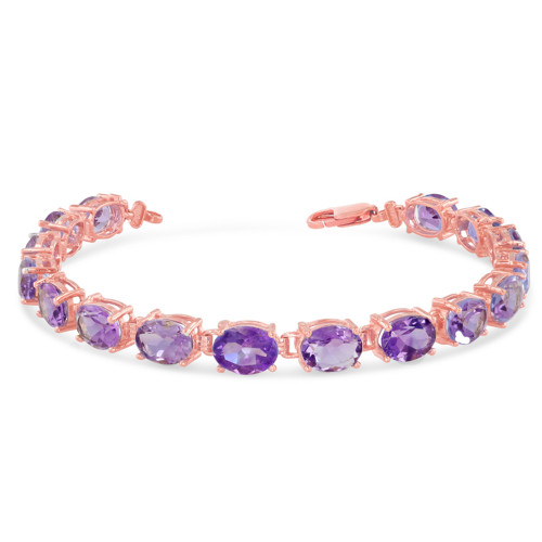 Oval Genuine Amethyst (8 x 6) Tennis Bracelet in Rose Gold
