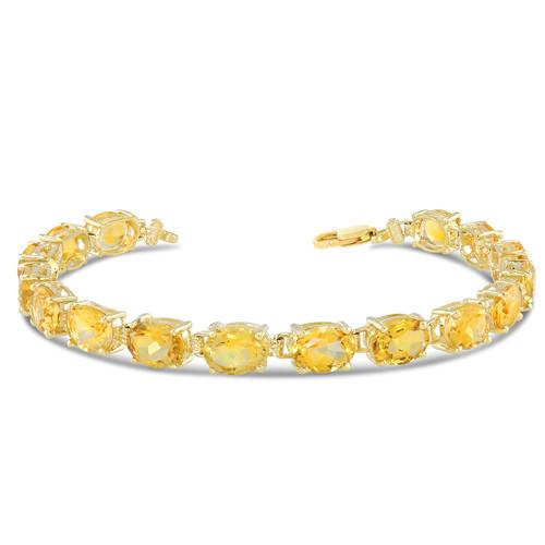 Oval Genuine Citrine (8 x 6) Tennis Bracelet in Yellow Gold