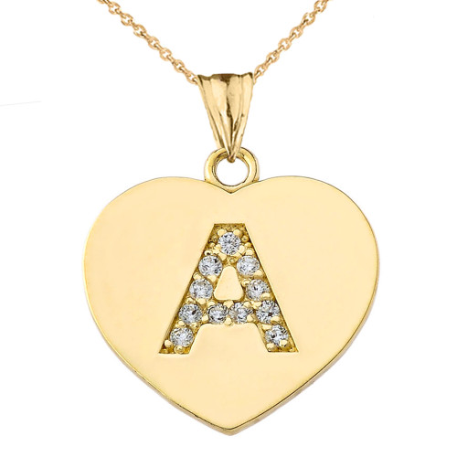 "Diamond Initial ""A"" Heart Pendant Necklace in Yellow Gold"