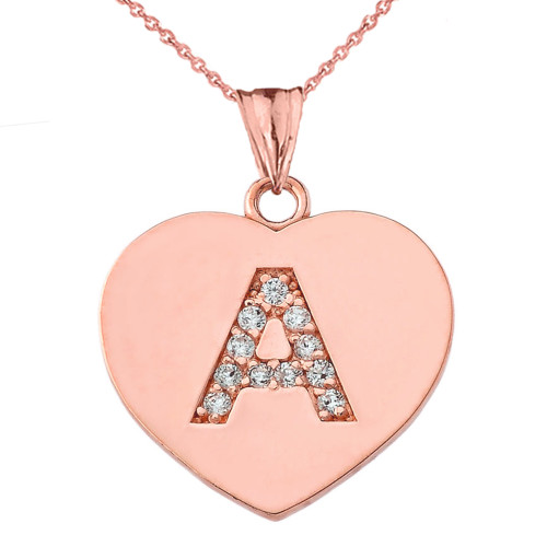 """Diamond Initial """"A"""" Heart Pendant Necklace in Rose Gold"""