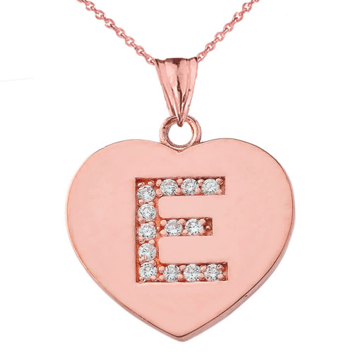 "Diamond Initial ""E"" Heart Pendant Necklace in Rose Gold"