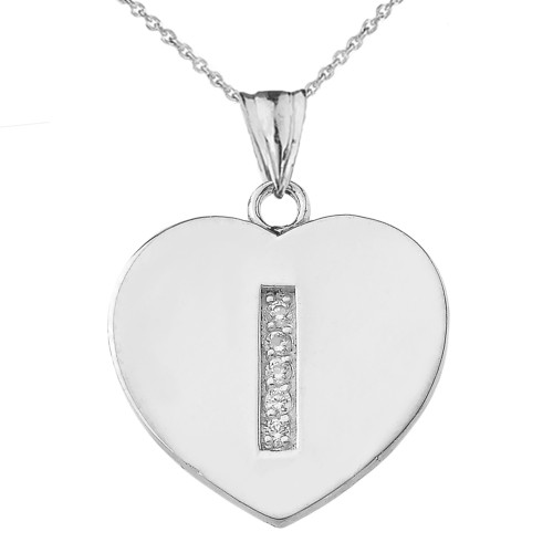"Diamond Initial ""I"" Heart Pendant Necklace in White Gold"