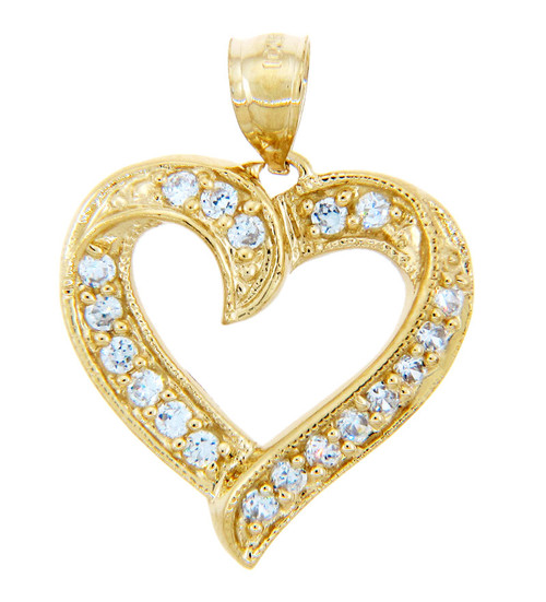 Elegant 10K Gold Heart Pendant with Cubic Zirconias