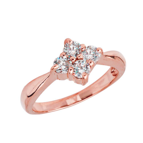 4 Stone Cluster Promise Ring in Rose Gold