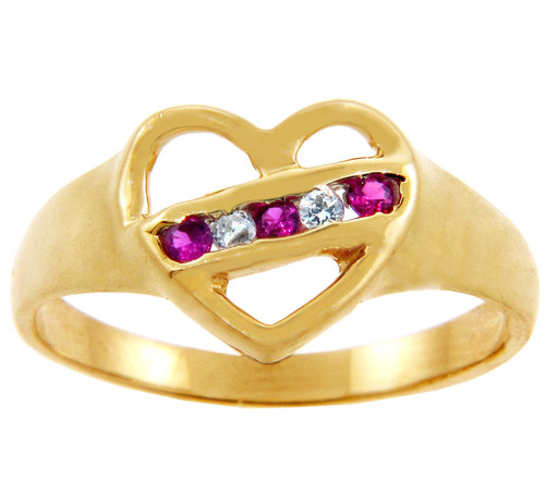 Ladies CZ Rings - Diagonal Cubic Zirconia Heart Ring in Solid Gold