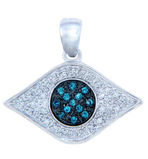 Diamond Pendants - Gold Eye of God Pendant with Blue Diamonds