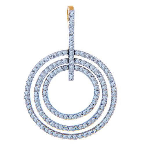 Diamond Pendants - Three Circles Gold Pendant with Diamonds