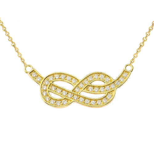 14K Infinity Knot Pendant Necklace in Yellow Gold