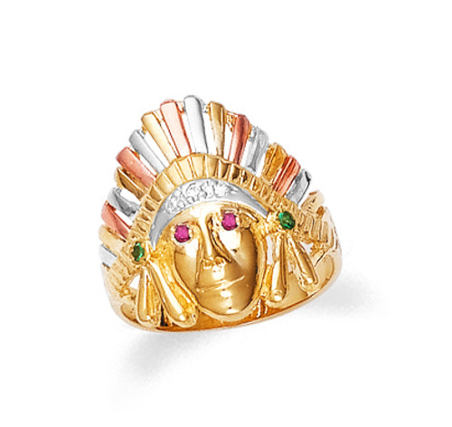 Indian head men' in 10k or 14k tri-tone gold with cubic zirconia.