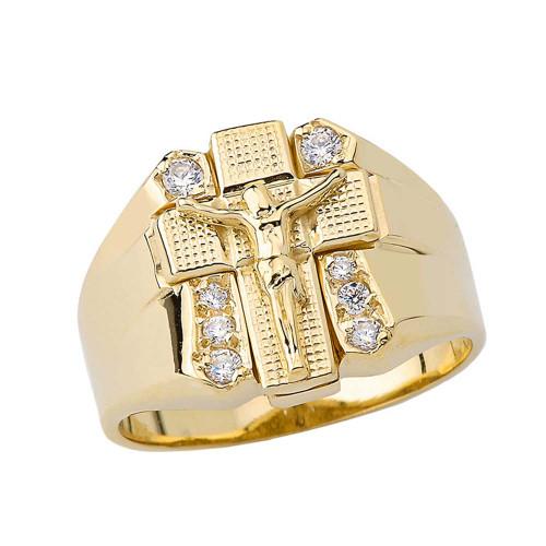 Bold Diamond Crucifix Ring in Yellow Gold