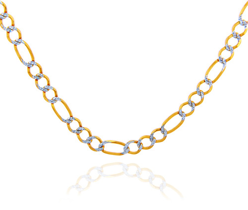 Gold Chains: Figaro Pave Two-Tone 10K Gold Chain 3.5mm