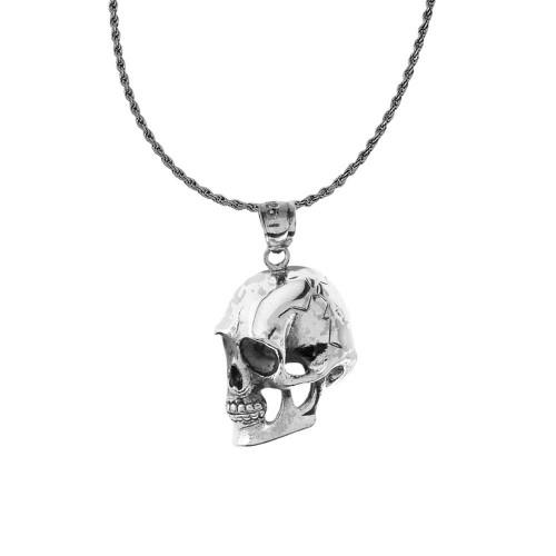 oxidized sideways skull pendant necklace in sterling silver