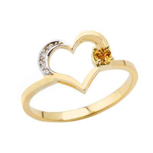 November Birthstone Citrine and Diamond Heart Ring In Yellow Gold