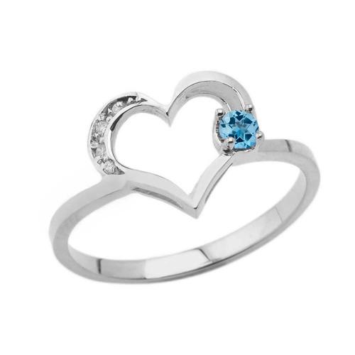 December Birthstone Blue Topaz and Diamond Heart Ring In White Gold