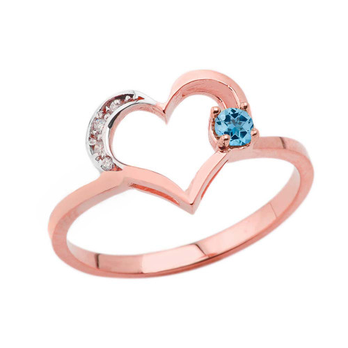 December Birthstone Blue Topaz and Diamond Heart Ring In Rose Gold