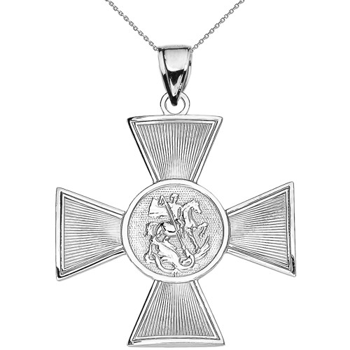 Saint George Russian Cross Pendant Necklace in Sterling Silver