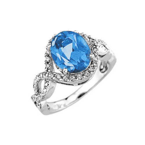White Gold Blue Topaz and Diamond Infinity Engagement Ring