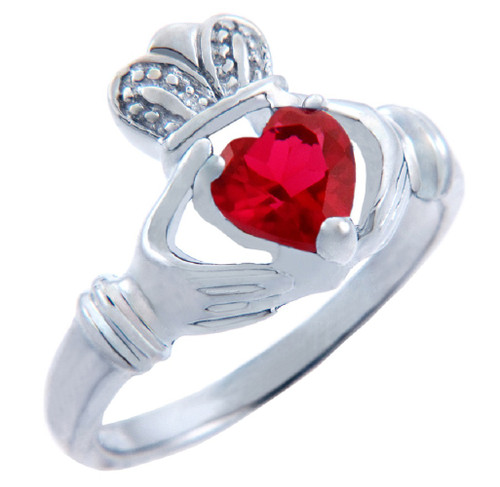 Silver Claddagh Ring with Garnet Red CZ Heart