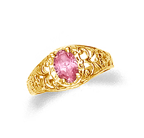 10k or 14k gold baby ring with pink oval cubic zirconia.