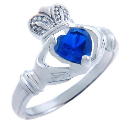 Silver Claddagh Ring with Sapphire CZ Heart