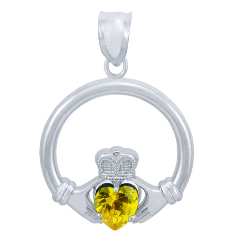 Silver Claddagh Yellow CZ Heart Charm Pendant (S)